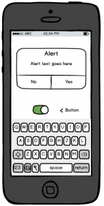 Rough wireframe of a smartphone app