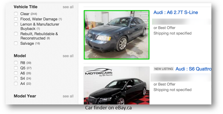 Car finder on eBay.ca