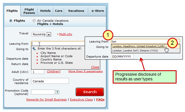 Air Canada: airport search box with progressive display of results.
