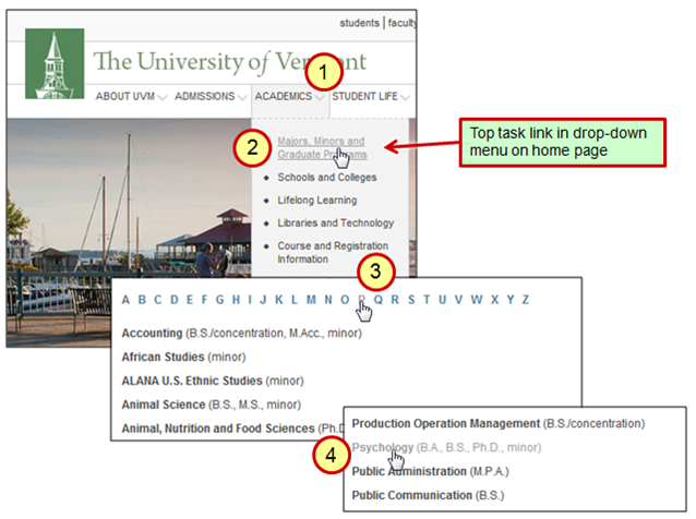 University of Vermont - 4 steps to find a program.