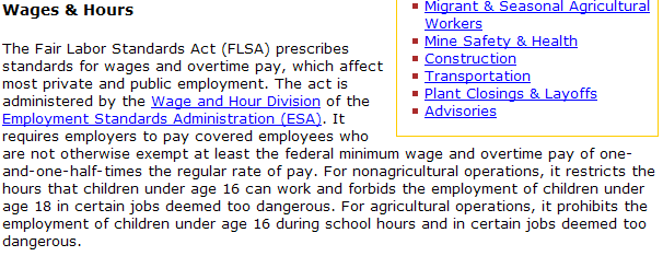 First paragraph of the Wages and Hours text.