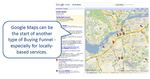 Google maps search results: start of a Buying Funnel.