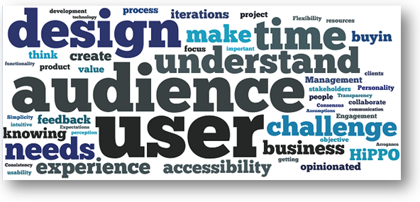 Word cloud of biggest challenges in UX