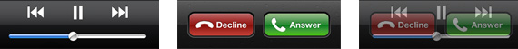Example of problems arising from similar button positions between app and incoming call controls